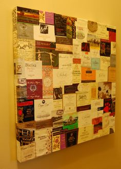 126 Labels of Wine on the Wall - winebar should totally do this