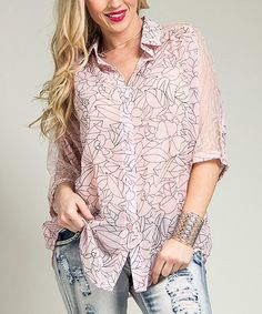 Another great find on #zulily! Pink Tropical Lace Button-Up - Plus by Ami Sanzuri #zulilyfinds