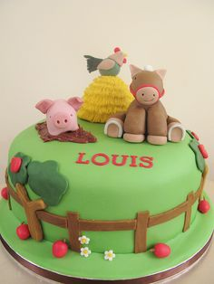 A sweet looking Farm birthday cake