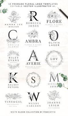 Logos Retro, Stationery Printing, Stationery Design, Wedding Stationery, Wedding Logos, Wedding Logo Design, Flower Logo, Vector Flowers, Floral Illustrations