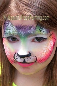 Love the BAM use: Face Painting Rainbow Cat. BAM stencil with the starblend white. DFX black for details. Kitty Face Paint, Cool Face Paint, Cat Face, Adult Face Painting, Belly Painting, Painting For Kids, Face Painting Supplies, Face Painting Designs, Paint Designs