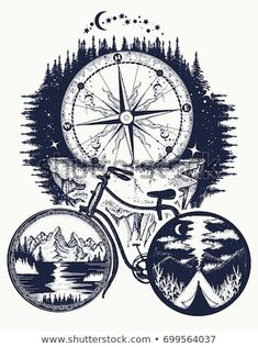 Bicycle and mountains tattoo art. Symbol of travel, tourism, adventure. Compass … Bicycle and mountains tattoo art. Symbol of travel, tourism, adventure. Compass and mountains in bicycle wheels t-shirt design Cycling Tattoo, Bicycle Tattoo, Bike Tattoos, Bicycle Art, Cycling Art, 16 Tattoo, Tattoo Art, Bike Drawing, Album Design