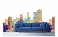 city scape wall paper maybe for the foyer?