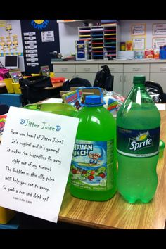 Jitter Juice- read first day jitters too! Cant wait to try this! Beginning Of Kindergarten, Beginning Of The School Year, New School Year, School Fun, School Days, 3rd Grade Classroom, Kindergarten Classroom, Future Classroom, Classroom Ideas