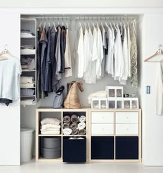 Reach-in closet space with sliding doors and IKEA furniture and fittings. - Ikea DIY - The best IKEA hacks all in one place Ikea Kallax Shelf, Kallax Shelving Unit, Ikea Kallax Regal, Ikea Storage, Bedroom Storage, Storage Ideas, Storage Units, Storage Solutions, Ikea Clothing Storage