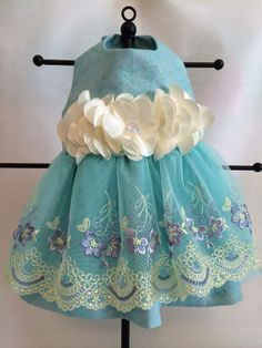 Lovely Teal Lace Dog Dress Sz Small Ready to ship by princessamee, $50.00