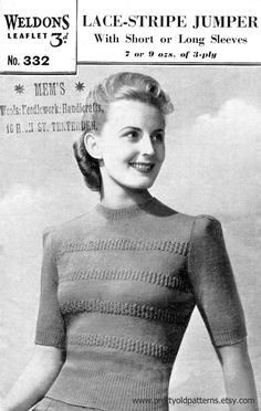 d9a308efb7e7b 1940s Lace Stripe Puff Sleeve Jumper with by PrettyOldPatterns Jumper  Patterns