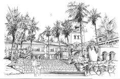 Grand Entry - hospitality design ink sketch on paper.