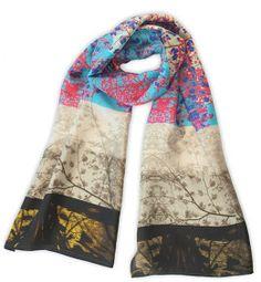 Azure-Branch silk habotai scarf