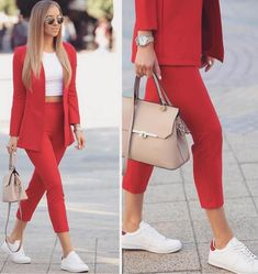 Pencil Pants Combinations Red Pencil Pants Weiße Bluse Rote Jacke Weiße Sportschuhe Source by sadekadinlar Casual Work Outfits, Business Casual Outfits, Professional Outfits, Mode Outfits, Office Outfits, Classy Outfits, Stylish Outfits, Vintage Outfits, Office Wear