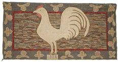 "1888 Hooked Rug  - dated by Maria Warning, Perth, ON, 51"" w   Final Price - $16,500"