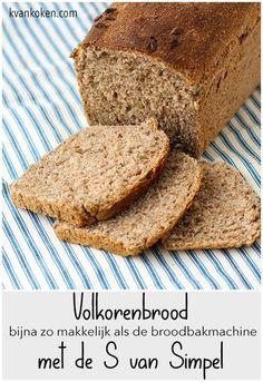 Volkorenbrood met de S van Simpel – De K van Koken - basisrecept voor een gemakkelijk volkorenbrood zonder broodbakmachine. Dutch Recipes, Pastry Recipes, Cupcake Recipes, Snack Recipes, Cooking Bread, Bread Baking, Stroganoff Recipe, Beef Stroganoff, Vegan Bread