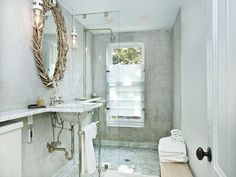 Brooklyn Townhouse 1880's - carrera marble,floors ,walls ,clear glass shower doors,**This is my next bathroom for my small space !**