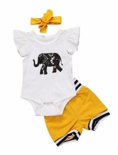 Baby Girl 3 Piece Set Bodysuit Shorts Matching Headband Free Shipping! Please allow 2-4 weeks for delivery.