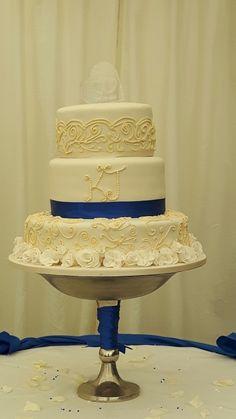 Ivory & Royal Blue Wedding Cake Royal Blue Wedding Cakes, Artisan Bread, Confectionery, Celebration Cakes, Shortbread, Vanilla Cake, Gingerbread, Ivory, Cupcakes