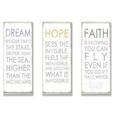 Stupell Anna Quach 'Dream, Hope, Faith' 3-piece Oversized Inspirational Typography Set