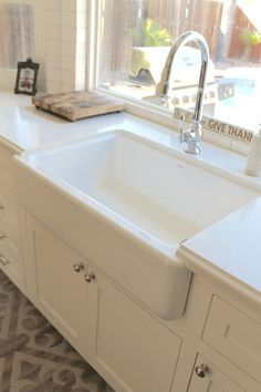White Kitchen Renovation and Design: farmhouse apron front sink