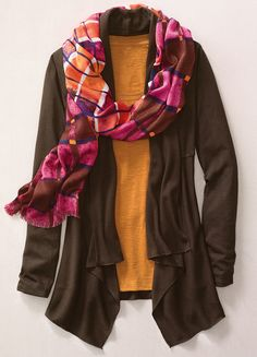 Dream Cardigan, slub tee & Geo plaid scarf #ColdwaterCreek