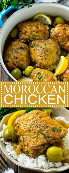 This Moroccan chicken is tender chicken thighs cooked in an aromatic sauce with olives and lemon. An easy dinner that's full of unique flavo. Morrocan Food, Moroccan Party Food, Easy Cooking, Cooking Recipes, Keto Recipes, Indian Food Recipes, Moroccan Recipes, Ethnic Recipes, Moroccan Chicken