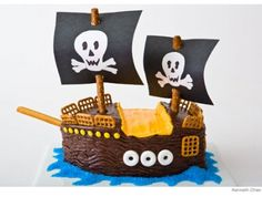 Pirate Ship Birthday Cake My list of birthday cake ideas for girls inspired me to keep my eyes peeled for equally fabulous boy birthday cakes. Since my son's birthday is just five days after my daughter's birthday, I'm pretty excited about the possibilities that come with making two beautiful cakes