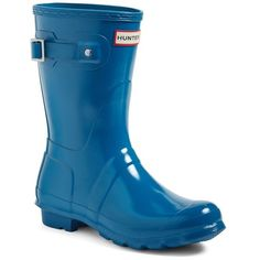 Women's Hunter 'Original Short' Gloss Rain Boot ($140) ❤ liked on Polyvore featuring shoes, boots, ocean blue, shining boots, short wellington boots, rubber boots, hunter shoes and shiny boots
