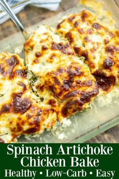 Healthy Spinach Artichoke Chicken Bake recipes : Your ultimate guide to air fryer vegetables! How to air fry virtually any vegetable into perfectly cooked, healthy deliciousness. Healthy Baked Chicken, Baked Chicken Recipes, Chicken Artichoke Recipes, Marinated Artichoke Recipe, Artichoke Heart Recipes, Spinach Artichoke Dip, Low Carb Recipes, Cooking Recipes, Low Carb Meals