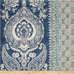 P Kaufmann Touch Of Provence Mediterranean Blue Stripes Fabric Damask Curtains, Grey Curtains, Drapery Fabric, Wall Fabric, Bedroom Curtains, Pillow Fabric, Kitchen Curtains, Window Curtains, Curtain Patterns