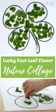 Making a lucky four leaf clover nature collage is a fun spring art project for kids. Can't find a lucky four leaf clover? A DIY fine motor activity and green craft idea for toddlers, preschoolers, Kindergarteners, Spring Art Projects, Spring Crafts, Projects For Kids, Craft Projects, Craft Ideas, Activity Ideas, St Patrick's Day Crafts, Diy And Crafts, Crafts For Kids
