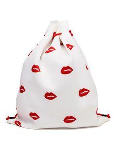 AMERICAN RETRO | Lip Print Drawstring Backpack