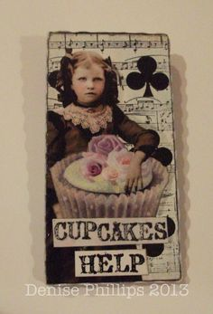 Mixed Media Altered Playing Card Art  Brooch