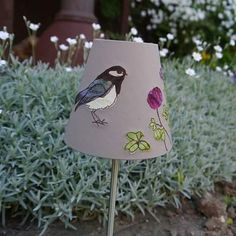 My favourite of the little lampshades #lampshadedesign #needcraft #lighting #rawedgeapplique #raggedyruffdesigns#coaltit