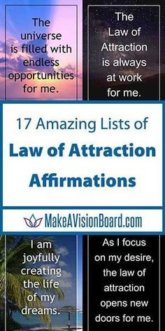 All affirmations are not created equal, but we've gathered the best of the best for you. In our 17 Amazing Lists of Law of Attraction Affirmations you'll find statements on virtually any topic and wording that is positive and in-the-now. Positive Mantras, Positive Thoughts, Positive Living, Positive Vibes, Making A Vision Board, Law Of Attraction Money, Attraction Quotes, Daily Mantra, Law Of Attraction Affirmations