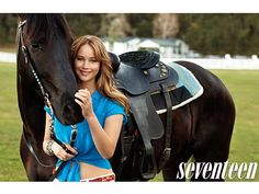 horse poses with people | Jennifer Lawrence Seventeen Magazine Poses with Horses