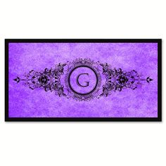 Alphabet Letter G Purple Canvas Print Black Frame Kids Bedroom Wall Décor Home Art