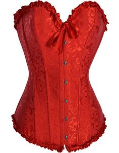 red corset. Add a black or white flowy skirt and you have a wedding dress...