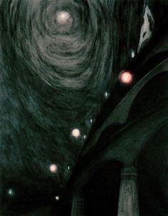 Léon Spilliaert, Clair de Lune et lumières (Moonlight and Light). c. 1909.  Pastel and ink wash,