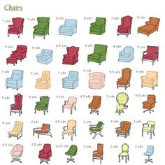 chair reupholstery yardage guide, via mid-century modern love.