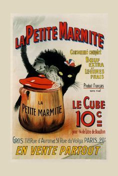 Black Cat Vegetables Food Soup Petite Marmite Paris Vintage Poster Repro FREE SH