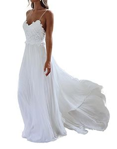 aba002962f6 online shopping for XJLY Spaghetti Straps Applique Backless Long Chiffon  Beach Wedding Dress from top store. See new offer for XJLY Spaghetti Straps  ...