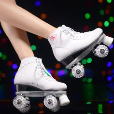 White Roller Skates With White Led Lighting Wheels Double Line Skates Adult Racing 4 Wheels Two line Roller Skating Shoes