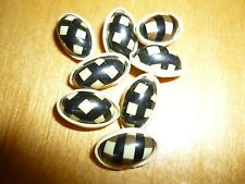 "8 ANTIQUE VINTAGE CELLULOID BUBBLE TOP BUTTONS- OVAL- RARE DESIGN -  1/2"" # 2392"