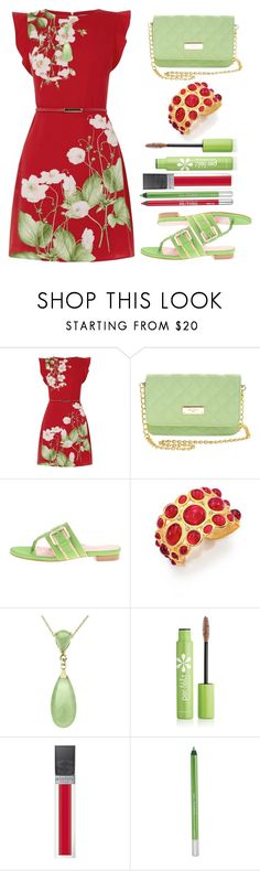 """""""Jewel-Tone Contest : Ruby and Jade"""" by juliehalloran ❤ liked on Polyvore featuring Oasis, BCBGMAXAZRIA, Taryn Rose, Kenneth Jay Lane, Per-fékt Beauty, Sisley and Urban Decay"""