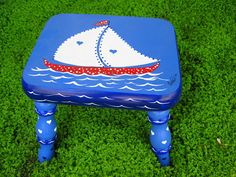 Hand Painted Toddlers Foot Stool by ladybugheirlooms on Etsy, $90.00