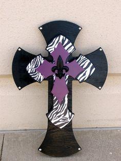Large Black Zebra and Purple Cross with a Fleur by twistofdazzle, $45.00bedroom
