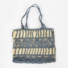 vtg 70s boho hippie MACRAME CROCHET WOVEN RAFFIA STRAW BASKET shoulder bag purse $22.00