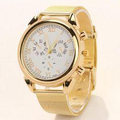 Watch, Wrist, Dress Luxury, Roman Numeral Dial, Gold Band,Gift Box,USA,Valentine #silvestri #Dress