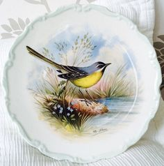 Plate Royal Albert Plate Woodland Birds Grey by BlackSquirrelHome