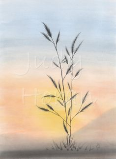 STANDS ALONE - a watercolour painting of one wheat plant standing alone in the warm afternoon sun