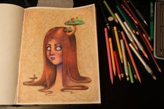 Color pencil, speed drawing of Red shroom head