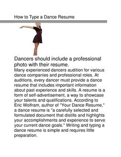 Dance Resume Examples Sample Of Acting Resume Template  Httpwwwresumecareer